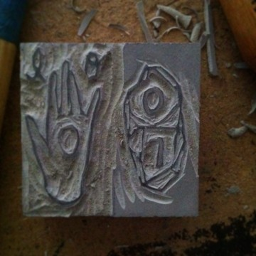 carved stamp detail